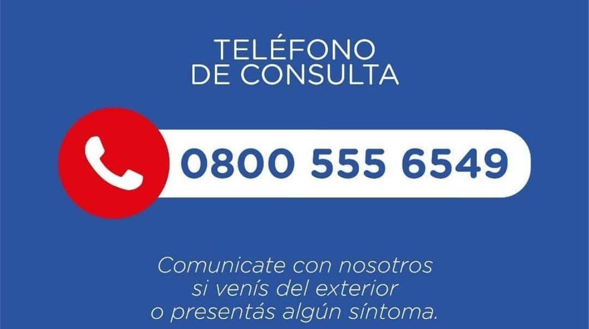 Coronavirus: telefono de consultas 08005556549